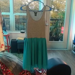 Knit and polyester two tone tank dress
